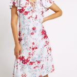 mand s Floral Print Tie Scoop Neck Viscose Dres