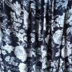 Evening Rose-Polyester- Black-White-Floral- Dress fabric-D