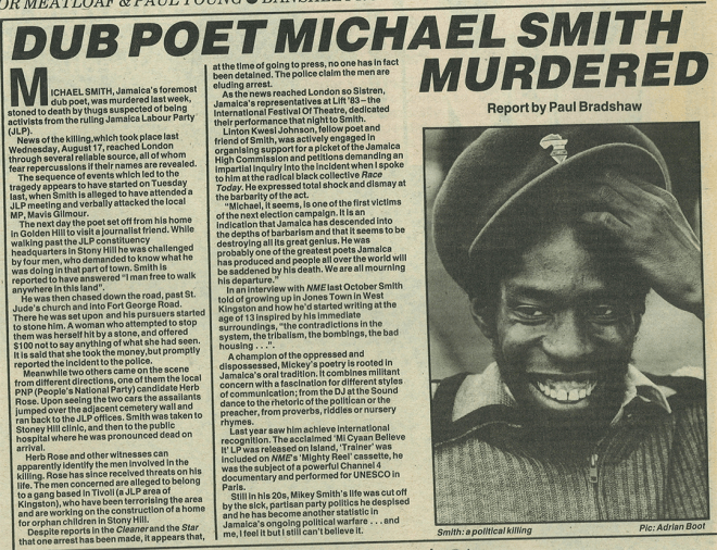 Dub poet Michael Smith murdered