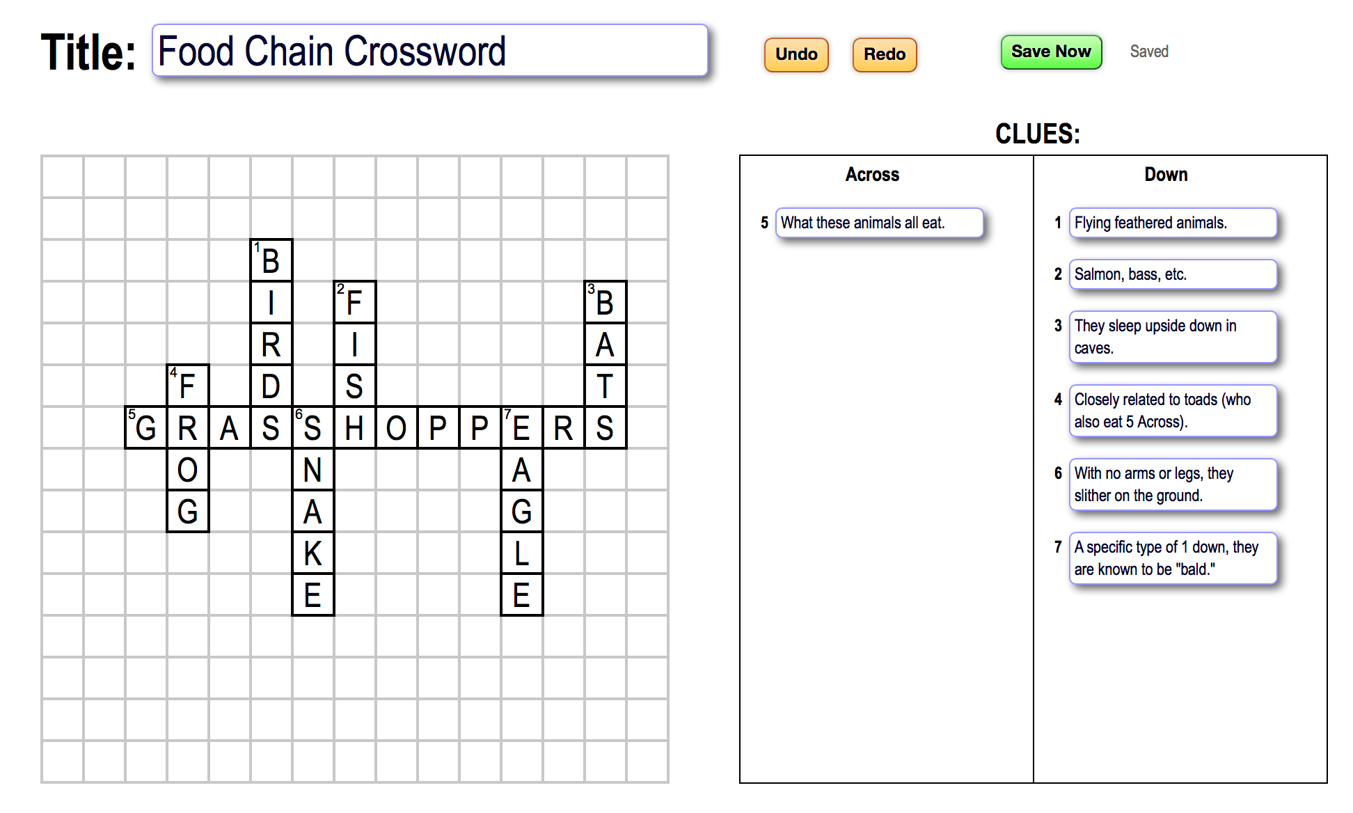 Food Chain Crosswords For Your Science Class