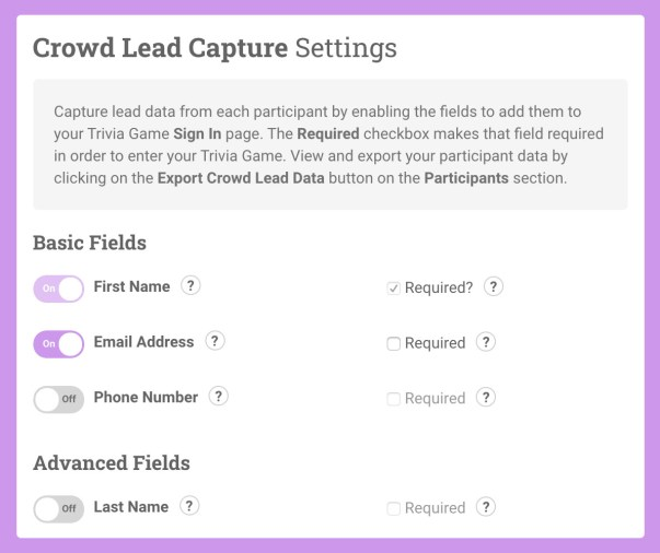 Crowdpurr Participant Lead Capture Settings including First Name, Email Address, and Phone Number