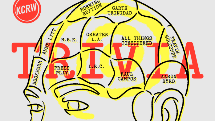 KCRW Radio's Daily Live Trivia Show ad feature a logo on top of man's brain