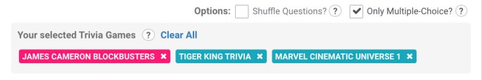 New trivia database options to shuffle questions and set only multiple choice type questions