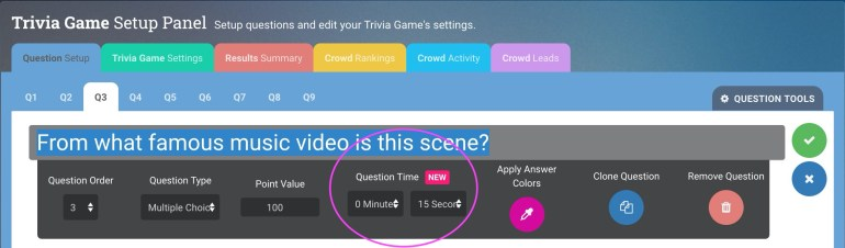 Crowdpurr's Question Edit Panel shows the new Per-Question Question Time setting