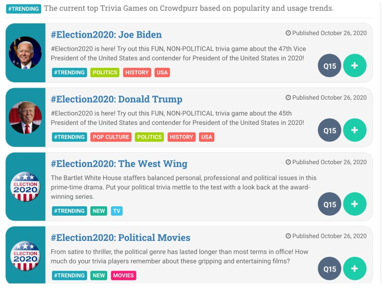 Crowdpurr's Election 2020 original trivia games including games on Joe Biden, Donald Trump, the West Wing, and more