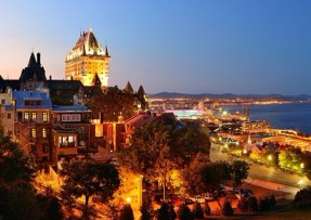 Quebec City skyline panorama with Chateau Frontenac at dusk view
