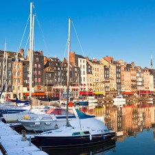 Boats docked in Honfleur Harbour, France