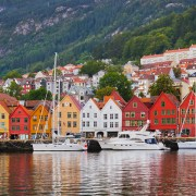 Norwegian Fjords colorful cruise ports -Famous Bryggen Street In Bergen - Norway