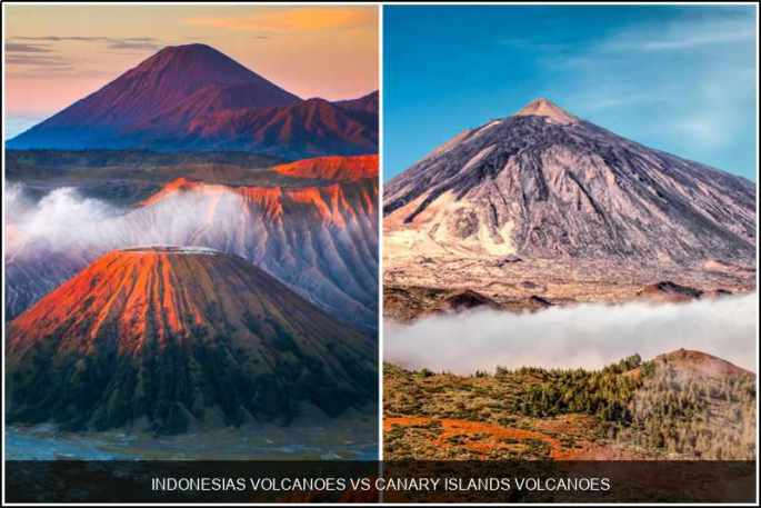 Indonesia's volcanoes vs. Canary Islands' volcanoes