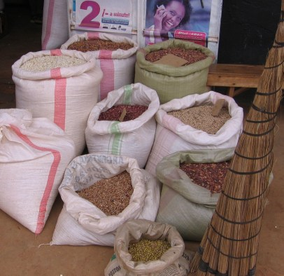 Large sacks holding different grains