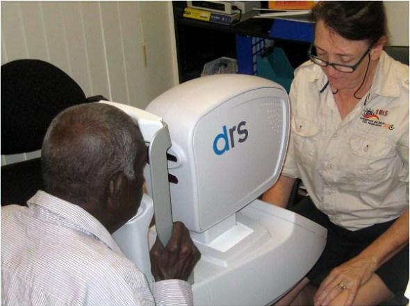 A Torres Strait man undergo an IRIS eye scan.