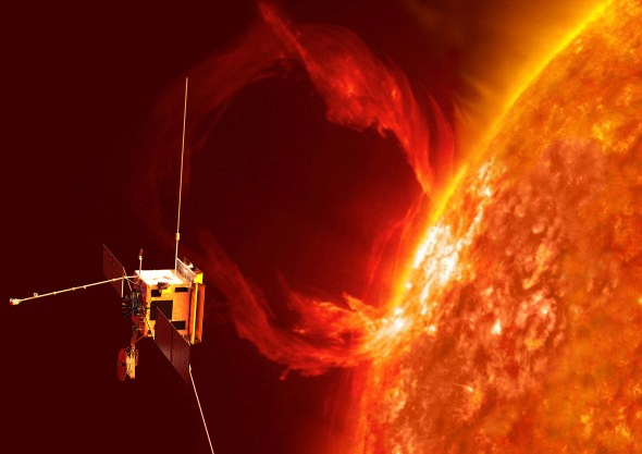 An artist's impression of the Solar Orbiter exploring the sun's realm. Image credit: ESA/AOES