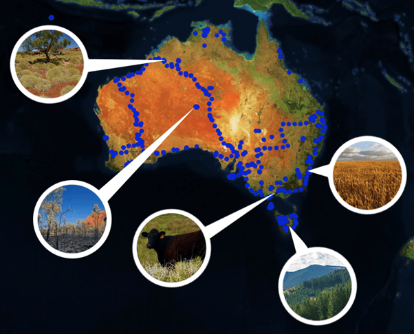 Map of Australia with soil sites marked and five photos of soil sites.