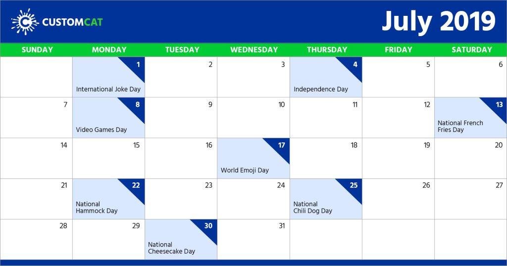 Holiday July Calendar