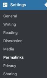 Screenshot of setting in WordPress