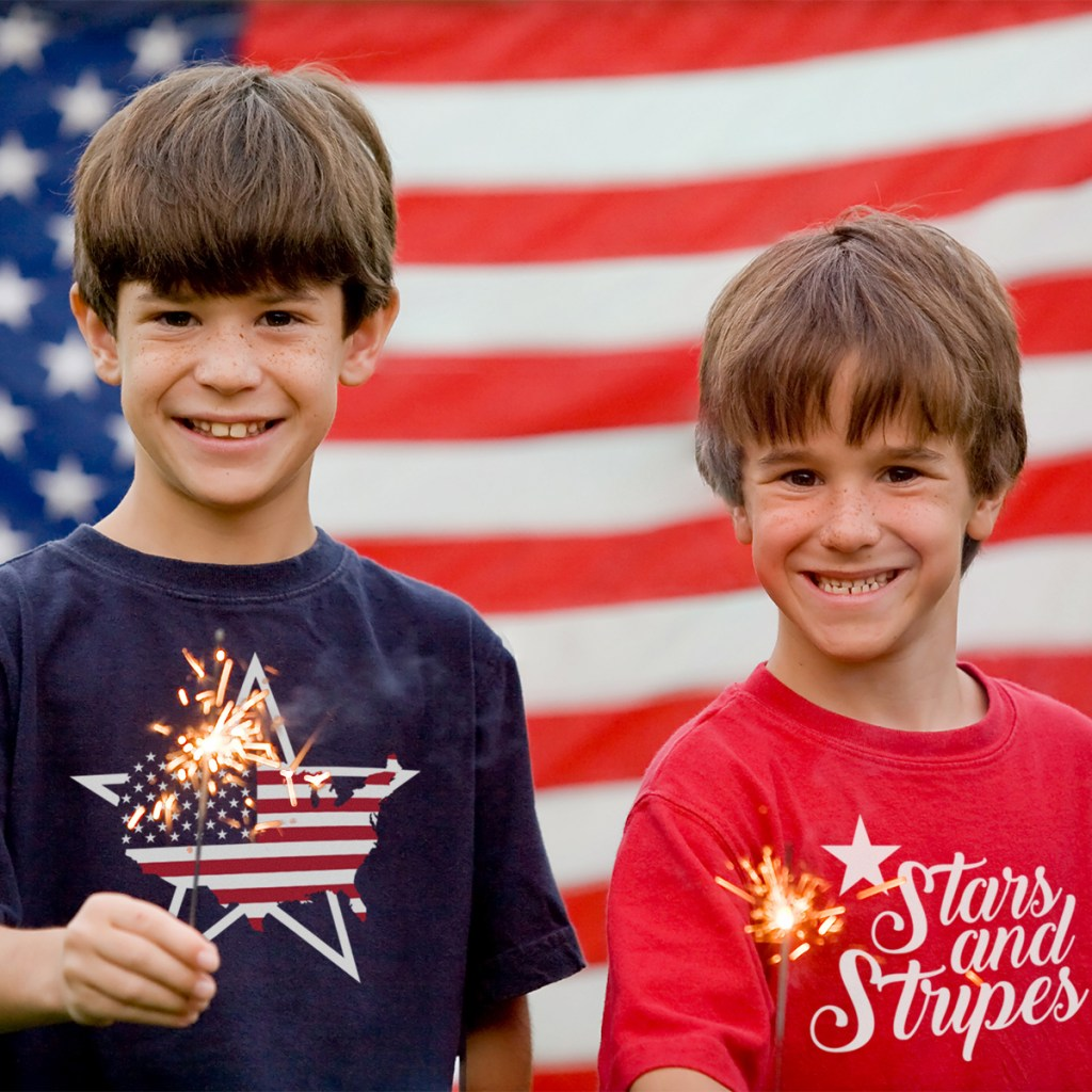 Boys at Twilight Holding Sparklers in Front of Flag with labor day t-shirt designs
