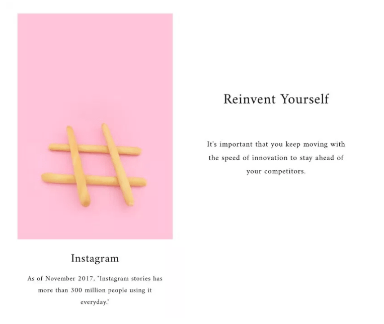 example of unfold tool for instagram stories