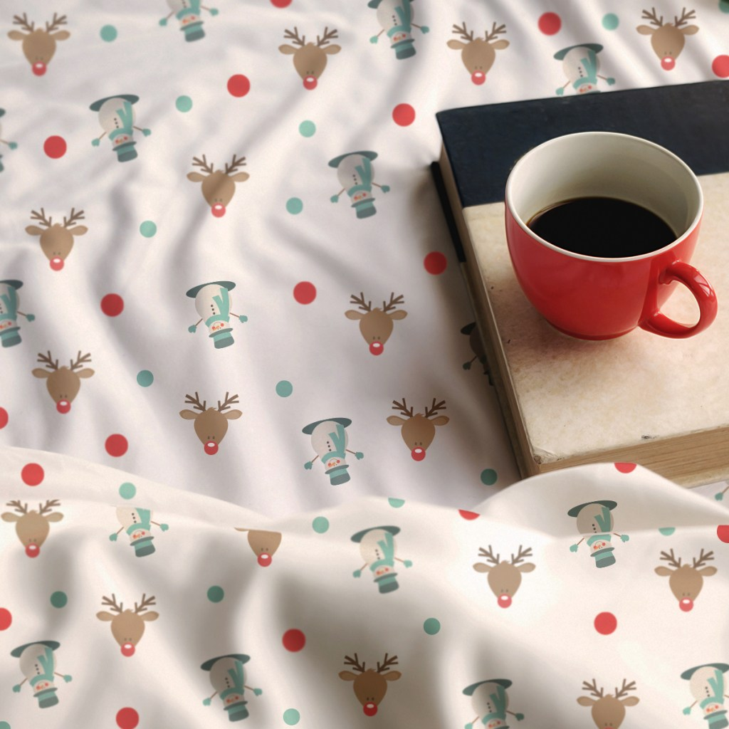 Deer Themed Christmas Blanket with a book and coffee