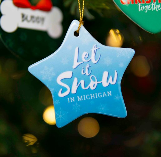 Star Christmas Ornament with let is snow in michigan design