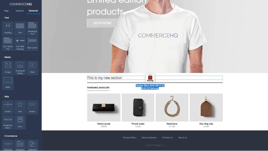 commercehq drag and drop