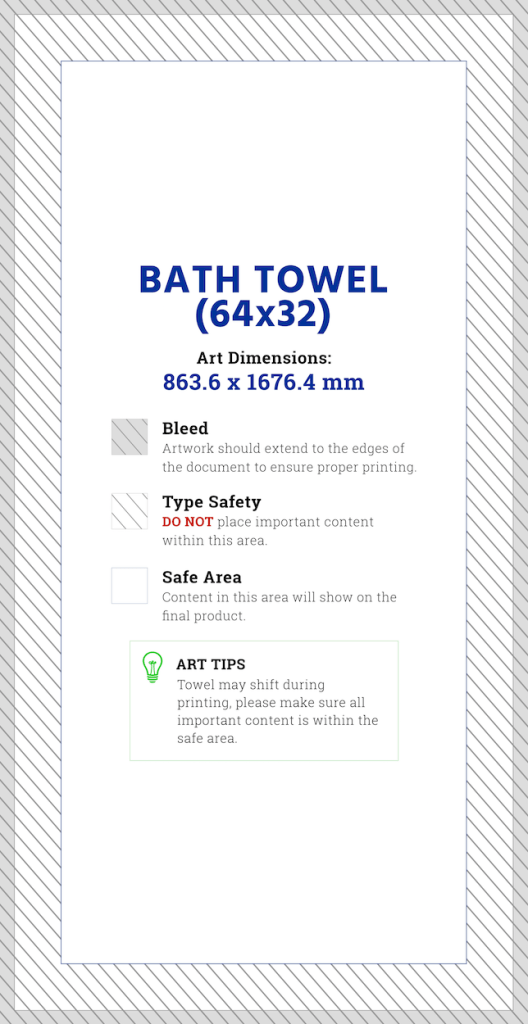 All Over Print Bath Towel Artwork Template