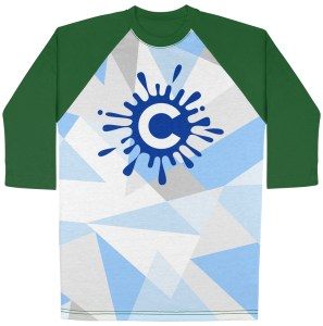 All over print 3/4 sleeve raglan tshirt