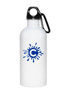 White Stainless Steel Water Bottle Mockup