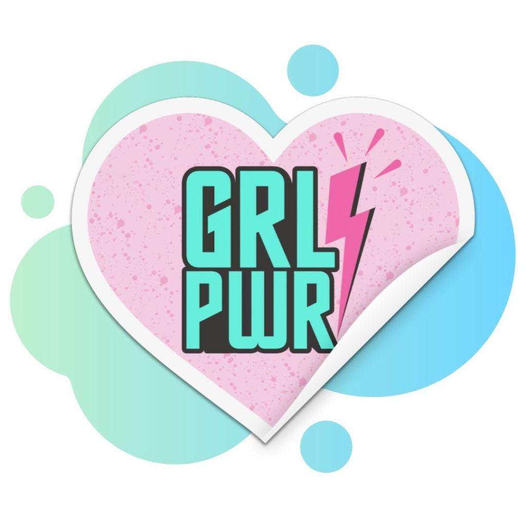 Girl Power Sticker on splash background