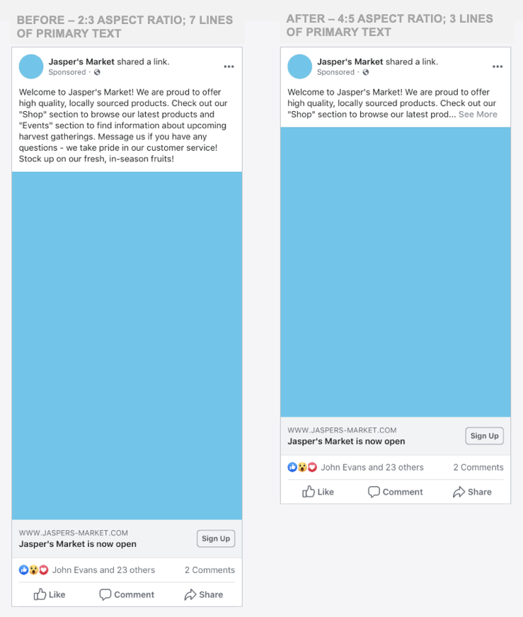 Mobile formatting on facebook example