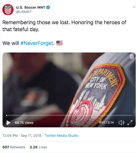 U.S. Soccer Tweet About 9/11