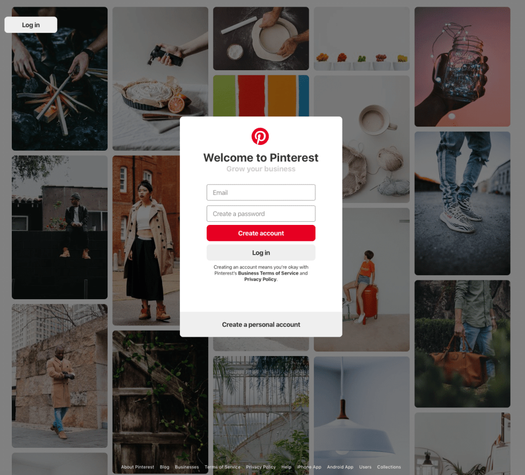 Pinterest Business Account Sign Up Page