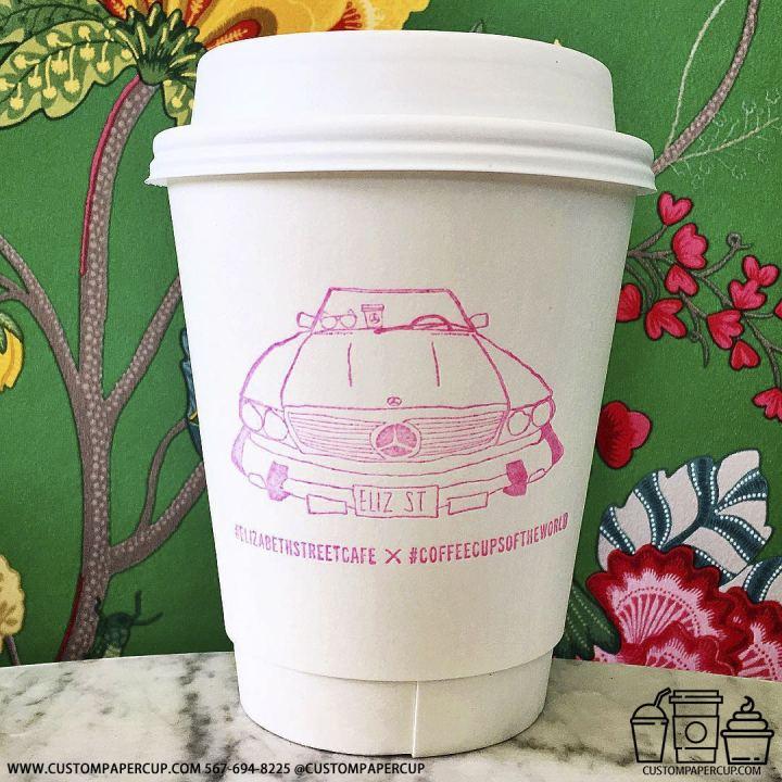 elizabethstreetcafe mercedes car pink paper cup