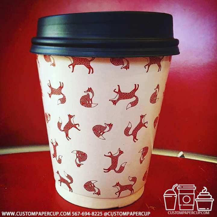 foxes mosaic red custom print cup