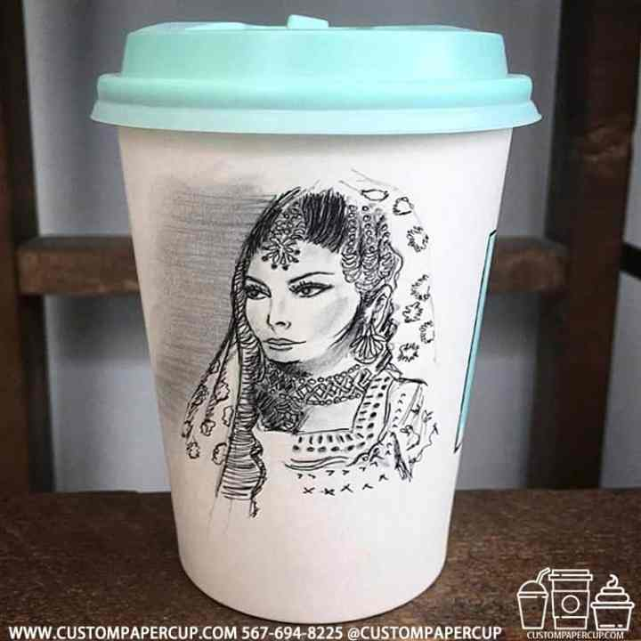 pencil drawing art indian girl coffee cup