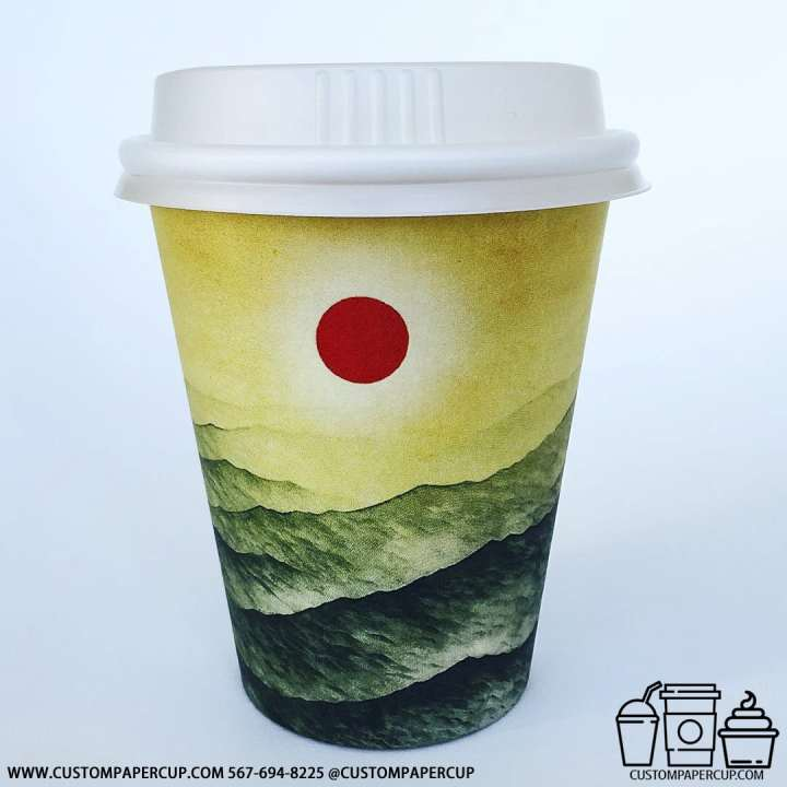 sun mountains painting red custom printed cup