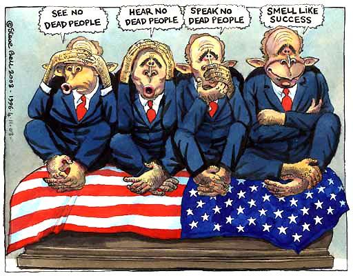 """Bush et les singes de la sagesse en Irak - """"Je ne vois pas les morts, je n'entends pas les morts, je ne parle pas des morts... On dirait que c'est un succès !"""""""