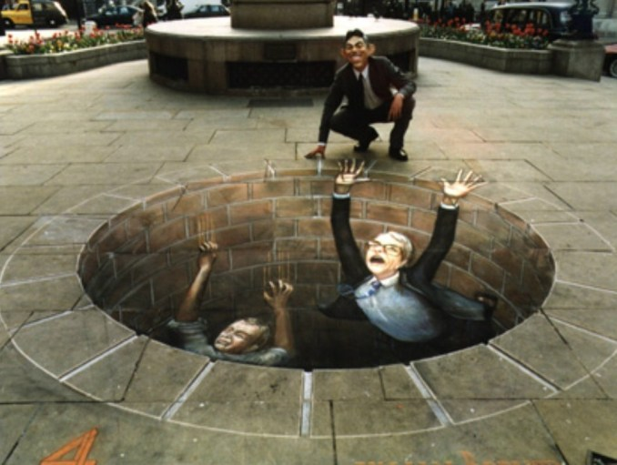 "Julien Beever, ""Politicians Meeting their End"""