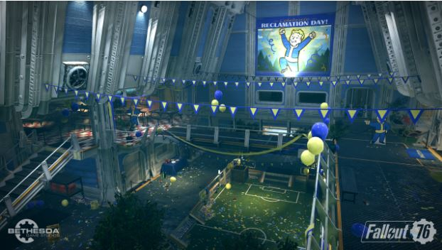 Fallout 76 Trailer as shown in gaming pc.