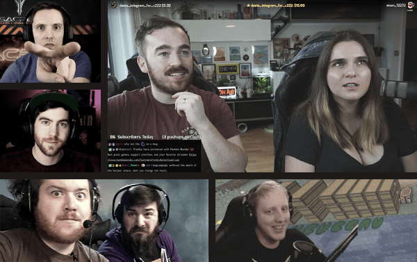 Pictures of UK gamers Fremily, Two Angry Gamers, Sacriel, Valkia, and Philza