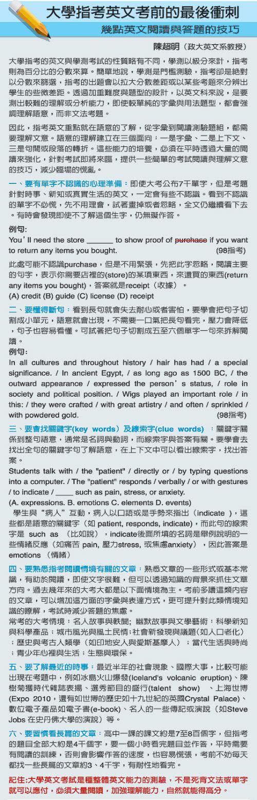 指考英文閱讀與答題技巧