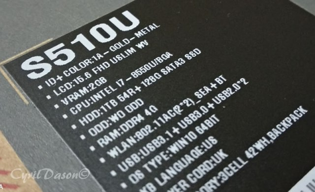 ASUS VivoBook S S510 Specifications