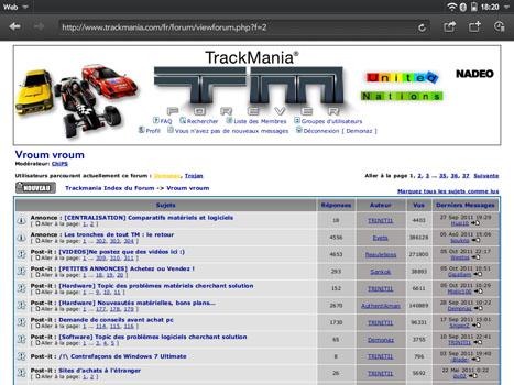 WebOS - Le forum TM vu via le navigateur intégré