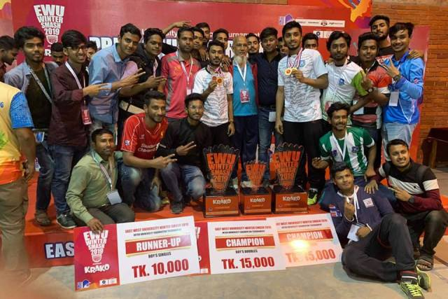 Daffodil International University (DIU) clinches double crown in 'East West Winter Smash-2019