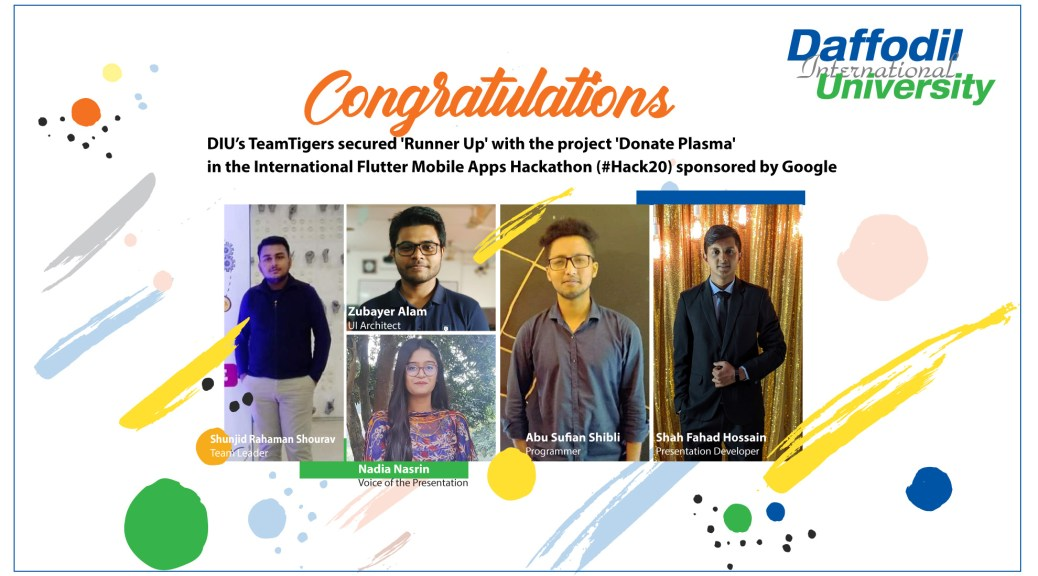 DIU's TeamTigers secured 'Runner Up' with the project 'Donate Plasma' in #Hack20