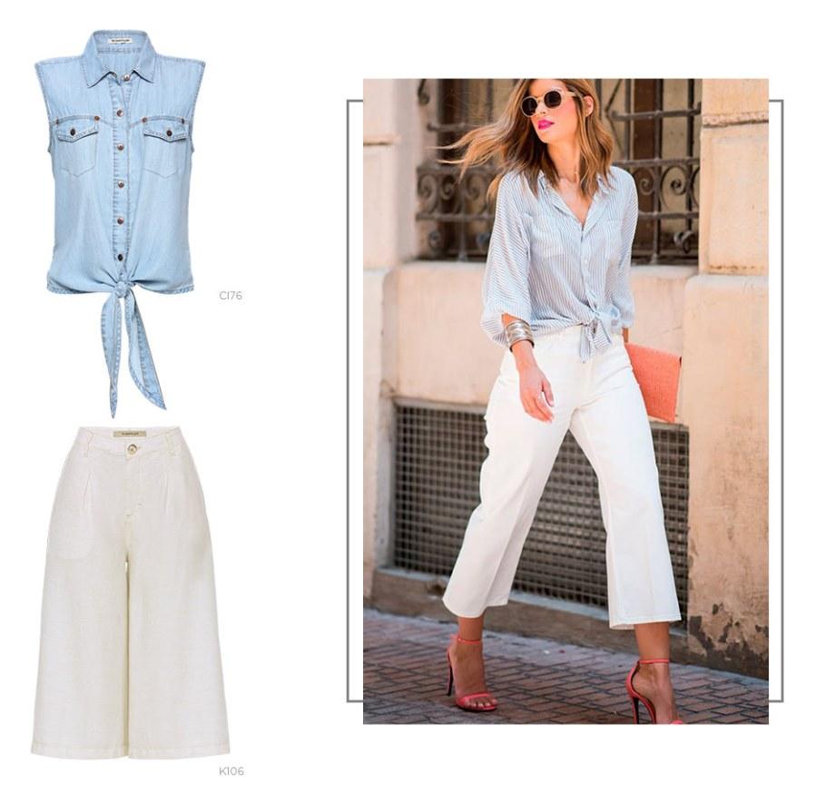 look com pantacourt e colete jeans