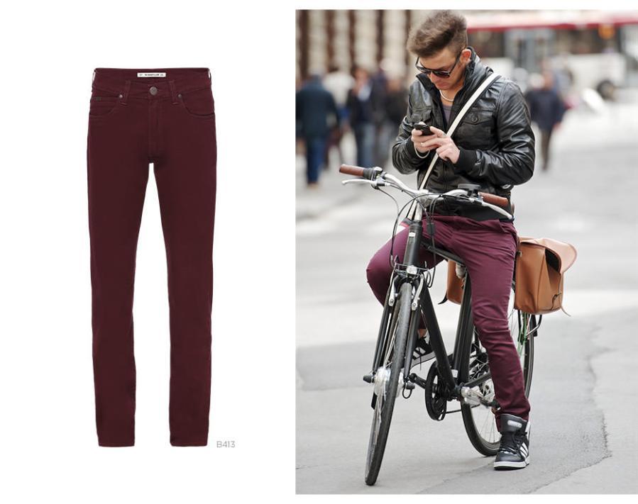 calça bordô masculina