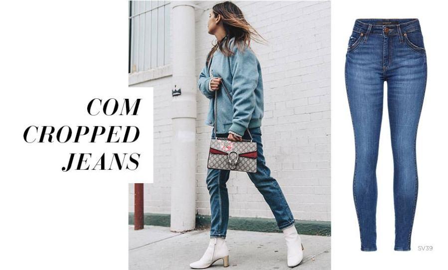 Calça cropped jeans com botas