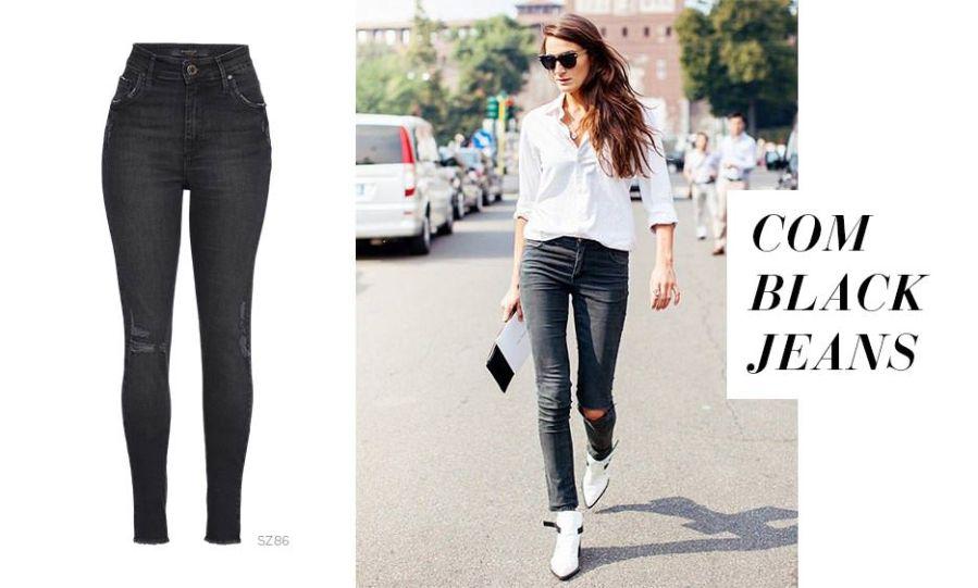 Calça jeans preta e bota branca