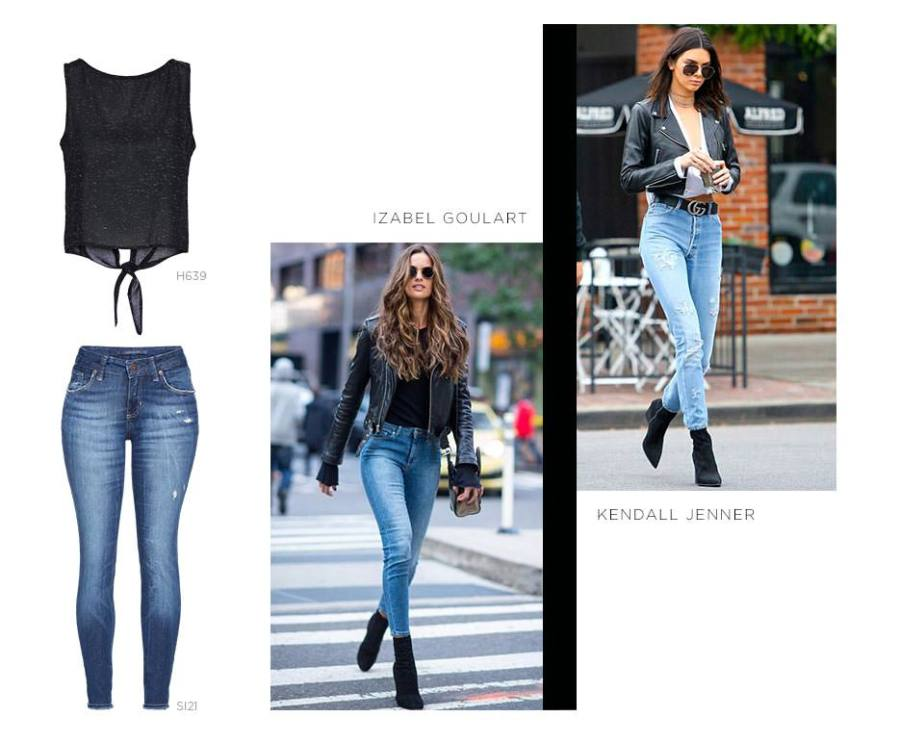 Cropped jeans e jaqueta perfecto