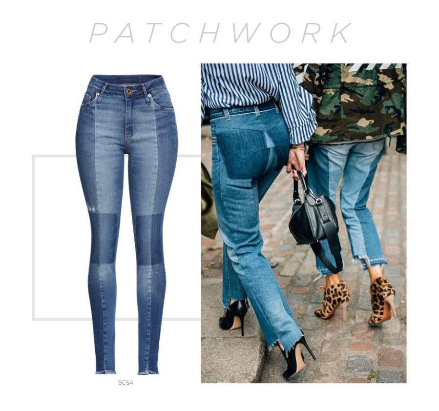 calças jeans com patchwork